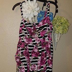 Torrid Size 0 Sundress Roses Stripes New 12
